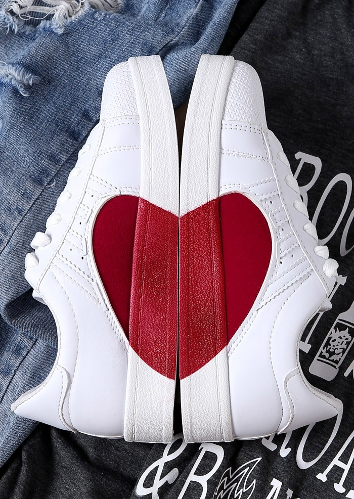 Image of Heart Lace Up Round Toe Sneakers