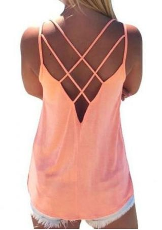 Solid Hollow Out Backless Sexy Camisole