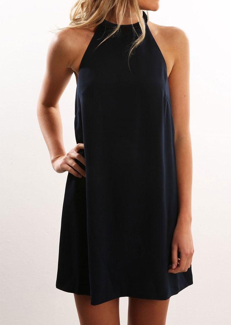 Solid Open Back Halter Mini Dress