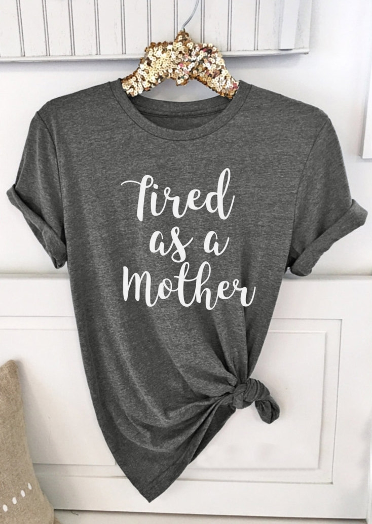 Tees T-shirts Tired as a Mother Short Sleeve T-Shirt in Gray. Size: 2XL фото