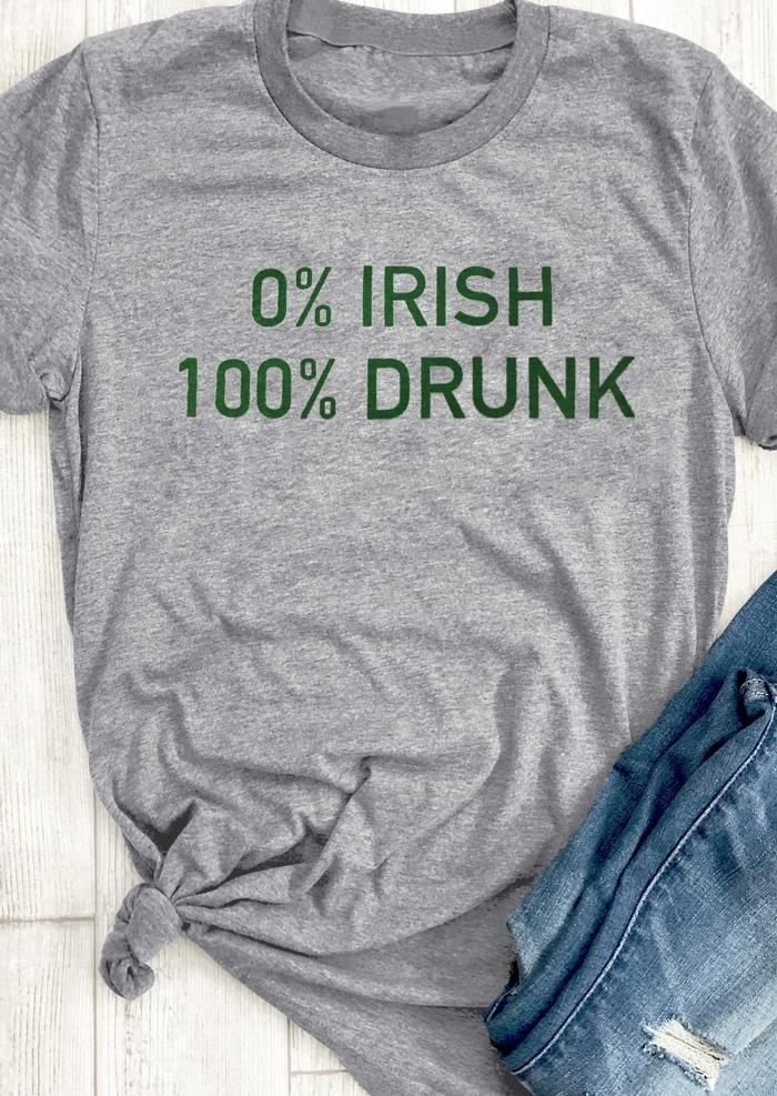 0% Irish 100% Drunk T-Shirt Tee thumbnail