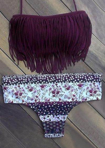 Floral Tassel Halter Bikini Set - Purple фото