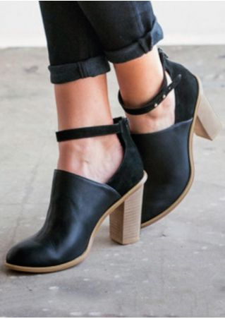 Solid Ankle Strap Zipper Heels