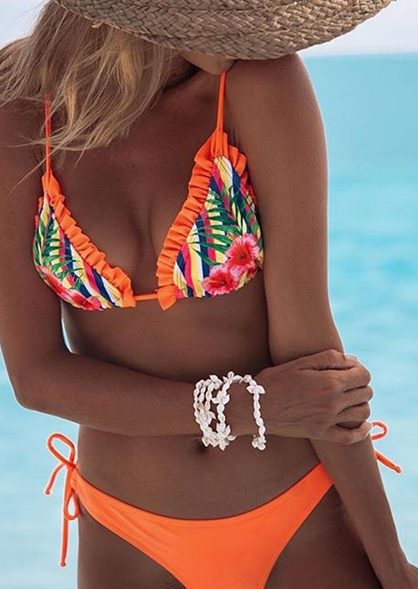 Floral Frill Tie Halter Bikini Set, Orange, 434790