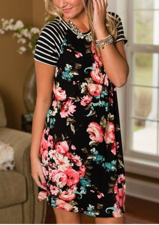 Floral Striped Sleeve Casual Mini Dress without Necklace