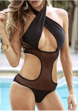 Solid Mesh Splicing Halter Swimsuit