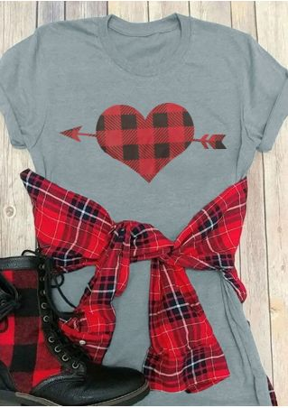 Plaid Heart Arrow T-Shirt Tee
