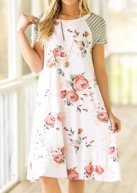 Floral Striped Splicing Casual Dress – White