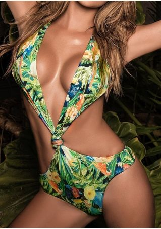 Floral Knot Cross Backless Swimsuit