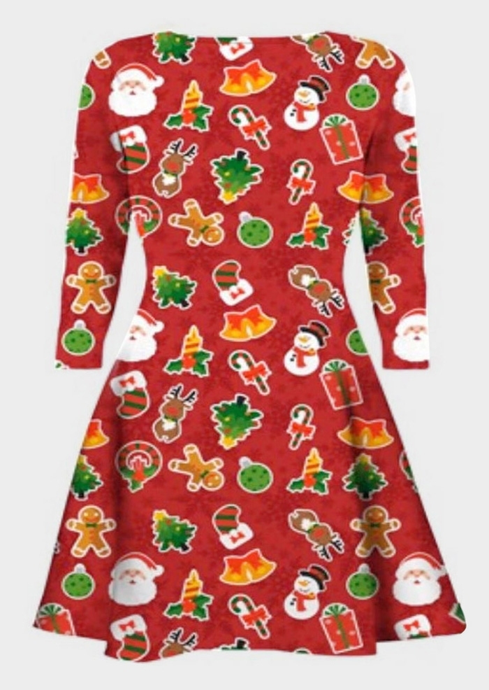 Christmas Printed O-Neck Dress