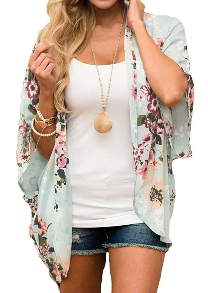 Cardigans Floral Batwing Sleeve Cardigan without Necklace in Light Green. Size: S,M,L,XL,2XL,3XL фото