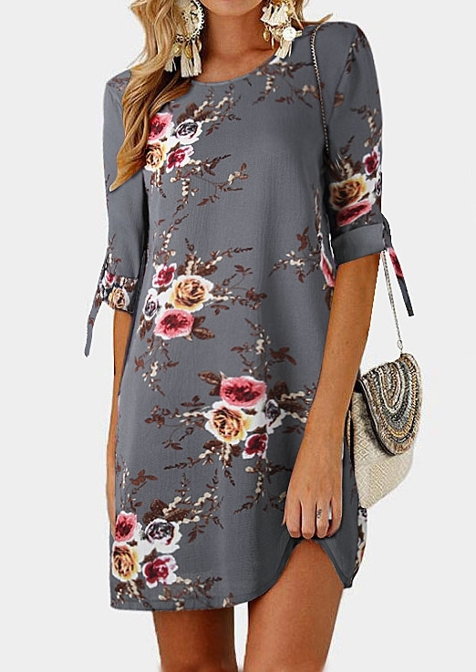 Mini Dresses Floral Tab-Sleeve O-Neck Mini Dress in Gray,Khaki. Size: 2XL,3XL,4XL,5XL фото