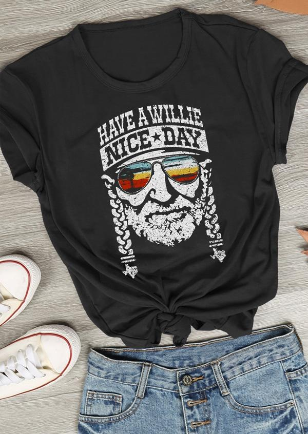 Tees T-shirts Have a Willie Nice Day T-Shirt in Black. Size: S,M,L,XL,2XL,3XL фото
