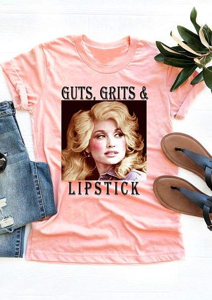 Tees T-shirts Guts Grits & Lipstick Dolly Parton T-Shirt Tee in Flesh. Size: S,M,L,XL фото