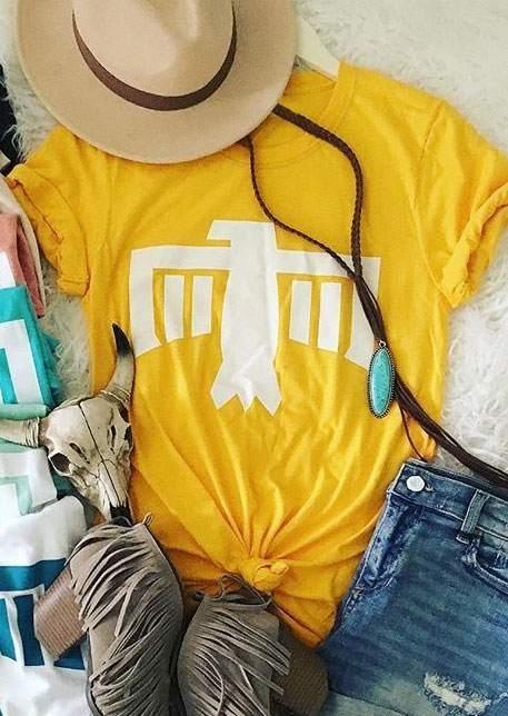 Thunderbird Short Sleeve O-Neck T-Shirt Tee – Yellow