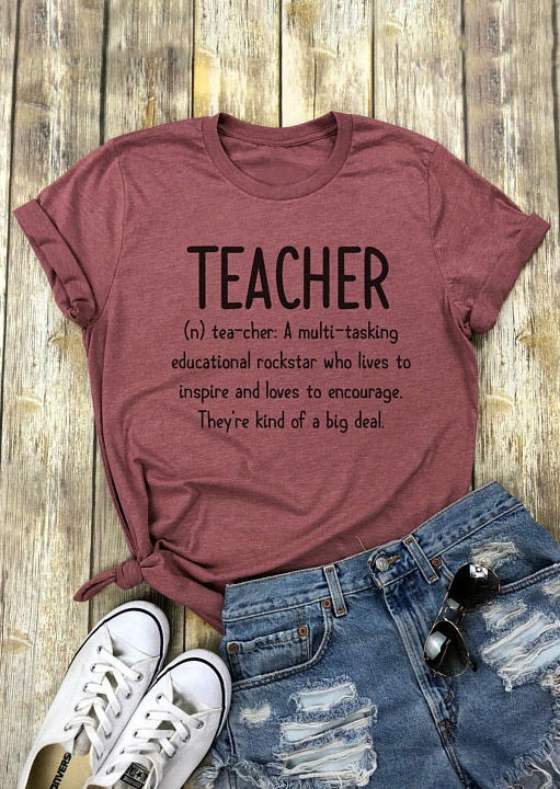 Tees T-shirts Teacher O-Neck Short Sleeve T-Shirt in Cameo Brown. Size: S,M,L,XL фото