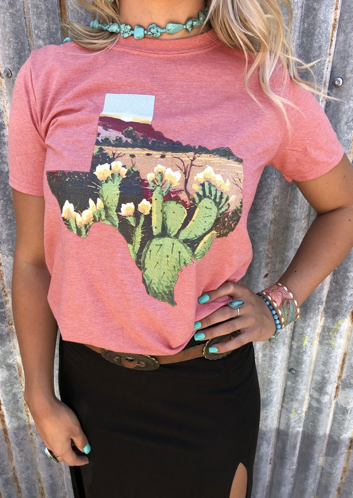 Floral Cactus Texas T-Shirt Tee without Necklace - Pink фото