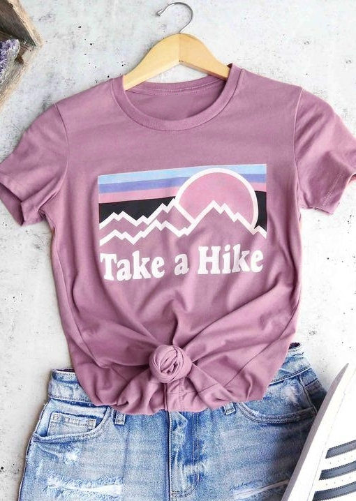Tees T-shirts Take A Hike O-Neck T-Shirt Tee in Pink. Size: S,M,L,XL,2XL,3XL фото