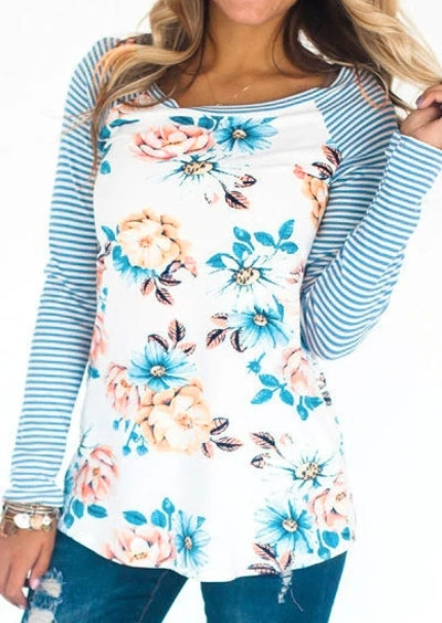 Striped Floral Baseball T-Shirt without Neckalce фото