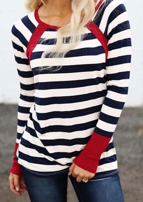 Striped Splicing Long Sleeve T-Shirt