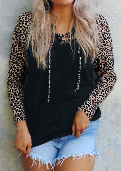 Leopard Printed Splicing Lace Up Blouse