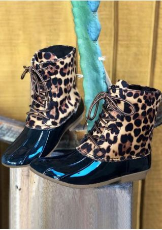 Leopard Printed Waterproof Lace Up Duck Boots