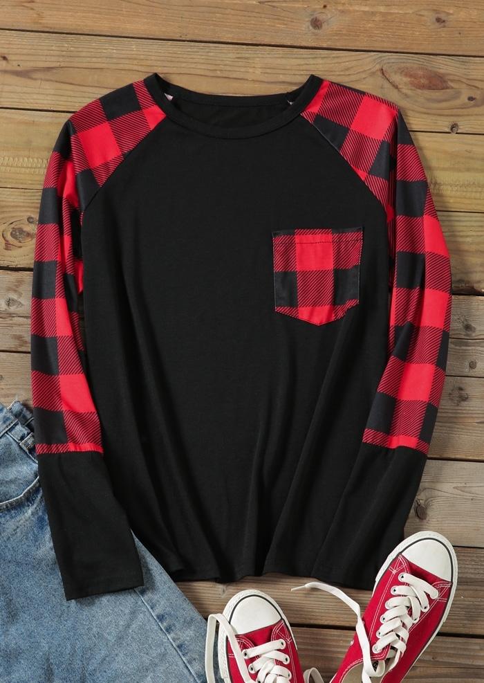 Plaid Pocket Splicing Baseball T-Shirt