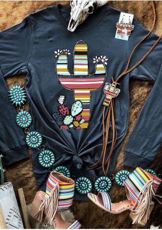 Cactus Floral Multicolor O-Neck T-Shirt