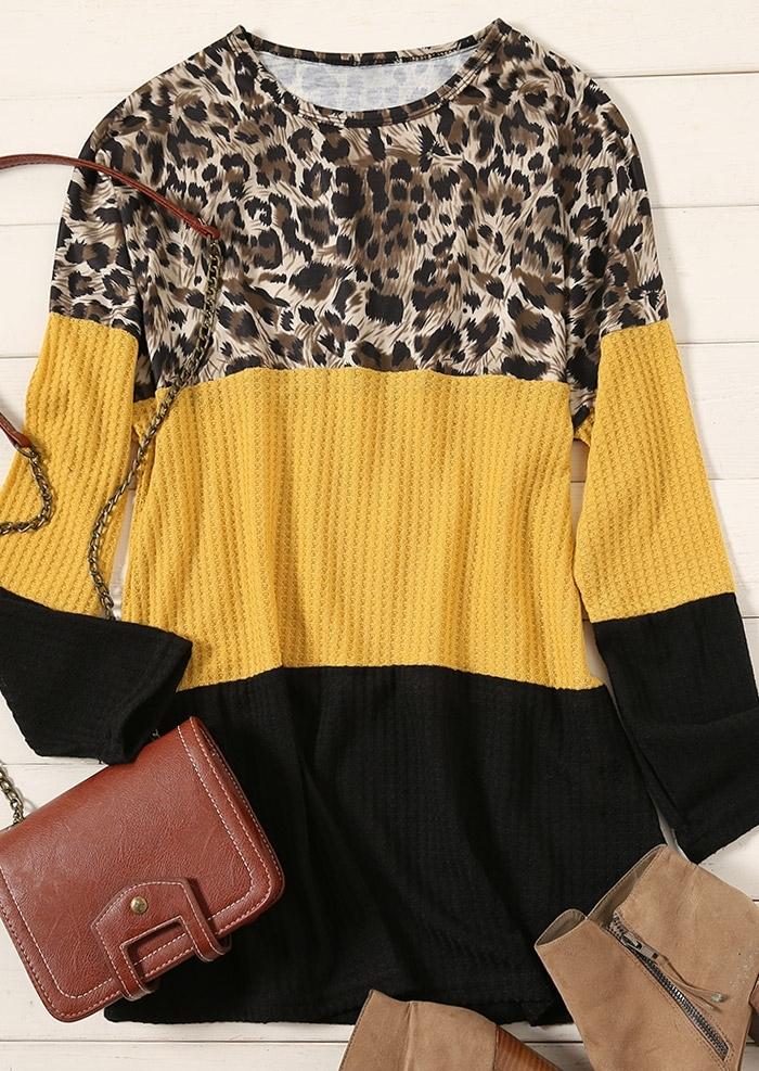 Color Block Leopard Printed Blouse