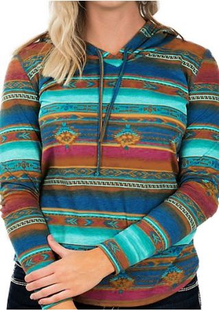 Striped Geometric Multicolor Drawstring Hoodie