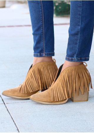 Solid Fringe Pointed Toe Western Boots