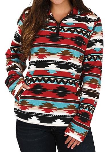 Striped Aztec Geometric Multicolor Zipper Sweatshirt