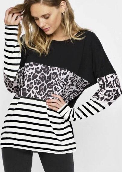 Leopard Printed Striped Splicing Blouse