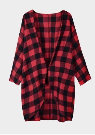 Plaid Raglan Sleeve Cardigan