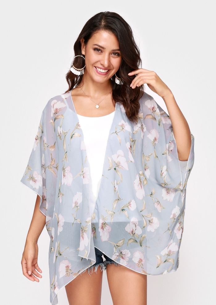 Image of Floral Chiffon Batwing Sleeve Cardigan