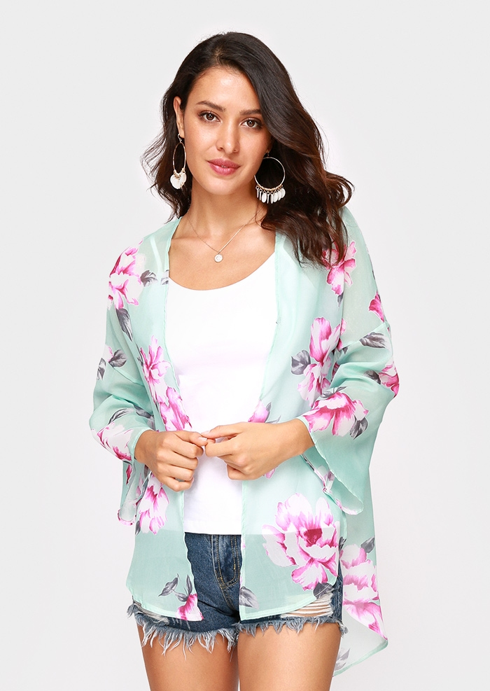 Image of Floral Asymmetric Three Quarter Sleeve Cardigan
