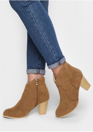 Solid PU Zipper Heeled Boots