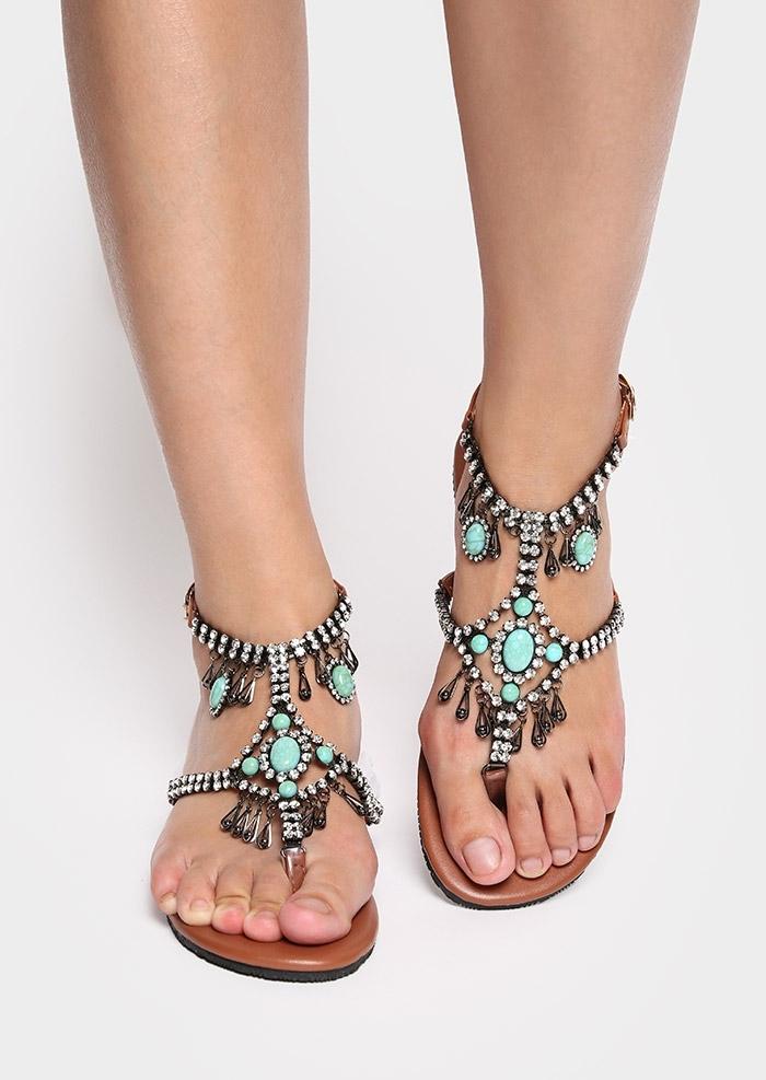 Image of Beading Flip Flops Flat Sandals