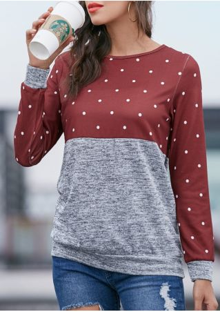 Color Block Polka Dot Sweatshirt