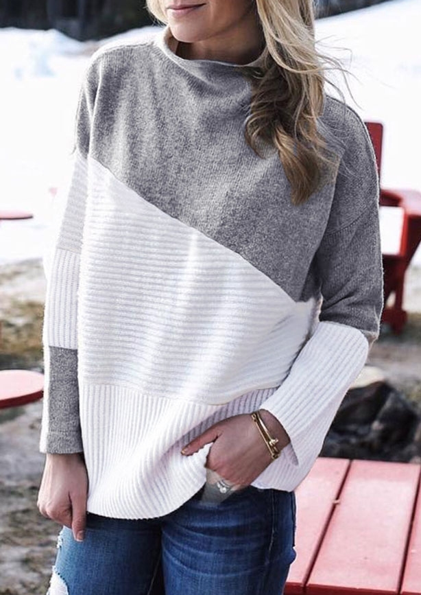 Image of Color Block Splicing Long Sleeve Sweater