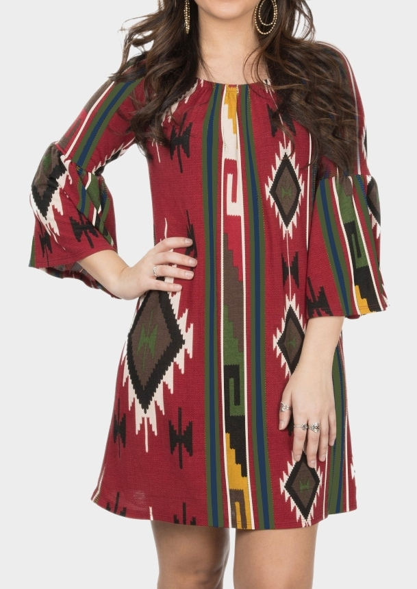 Image of Aztec Geometric Printed Casual Dress