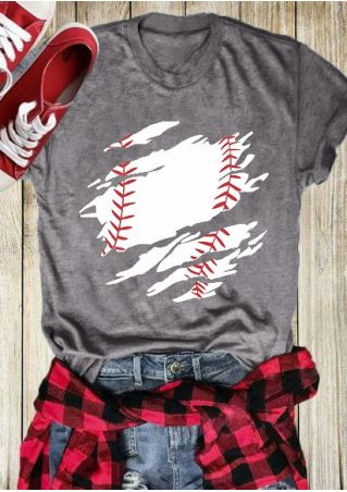 Baseball O-Neck Short Sleeve T-Shirt Tee