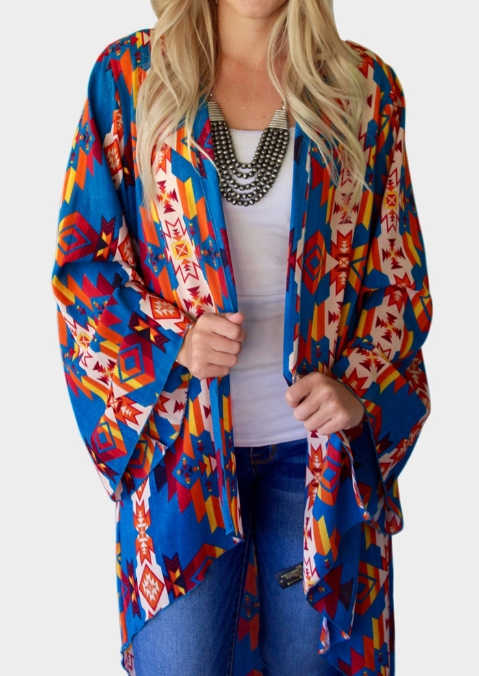 Image of Aztec Geometric Printed Asymmetric Cardigan
