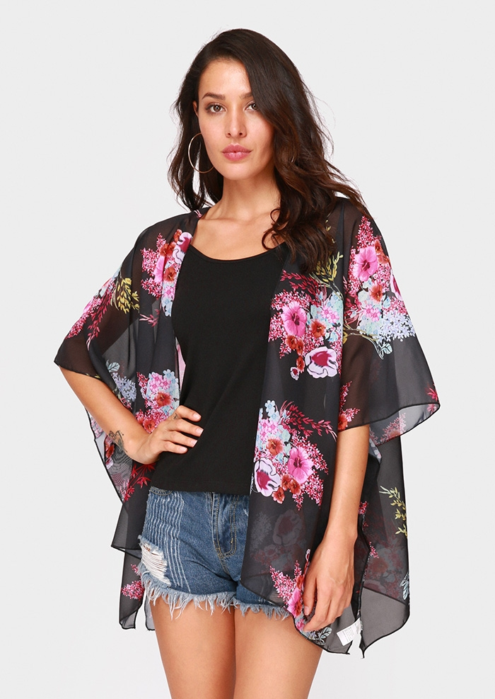 Image of Floral Batwing Sleeve Cardigan