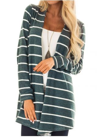 Striped Long Sleeve Cardigan without Necklace