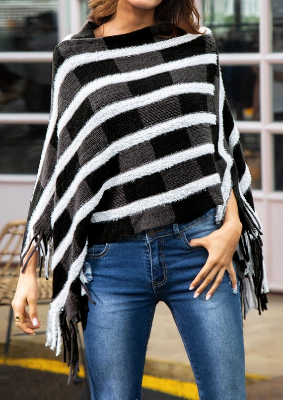 Image of Color Block Fringe Poncho Sweater