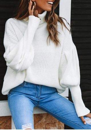 Solid Lantern Sleeve Turtleneck Sweater