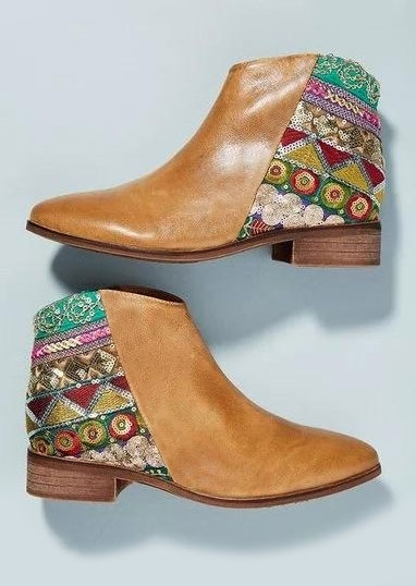 Image of Bohemian Geometric Embroidered Retro Booties