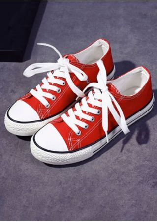 Letter Lace Up Canvas Sneakers