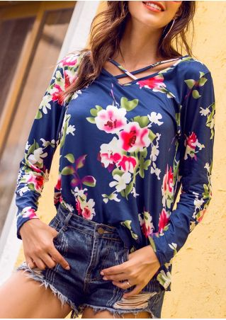 Floral Criss-Cross Long Sleeve Blouse